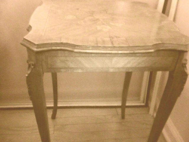 Antique floral square side Table