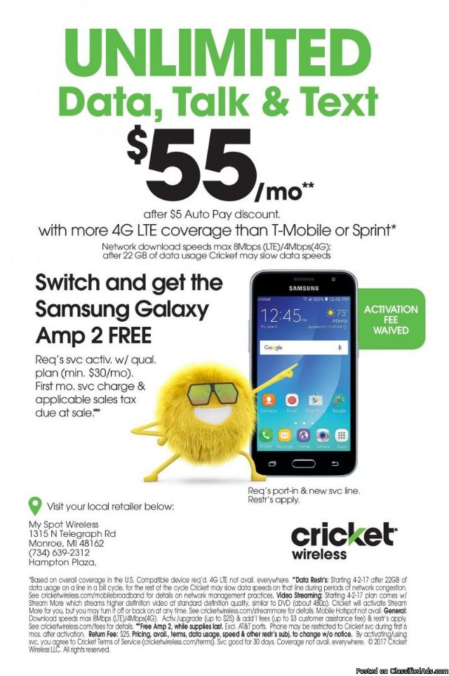 Cricket Wireless- Simple Service DETROIT MICHIGAN Cell Phones For ...