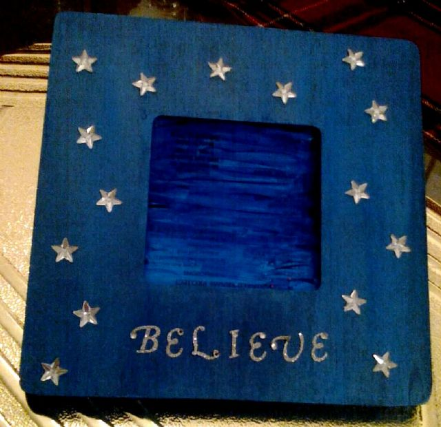 Dark Blue &quot;Believe&quot; handcrafted Picture Frame