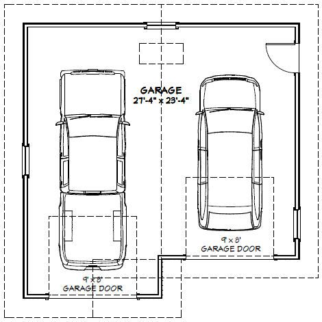 28x28 2 car garage 728 sq ft pdf floor plan el for 1 5 car garage dimensions