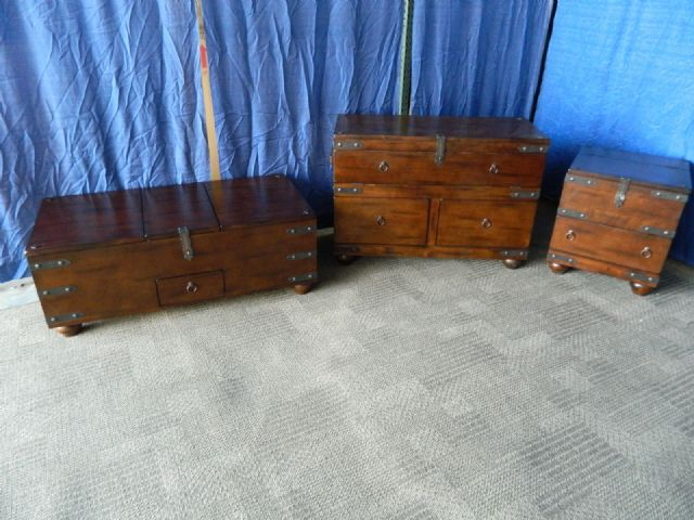COFFEE TABLE END TABLE SOFA TABLE TRUNK STYLE 3PC