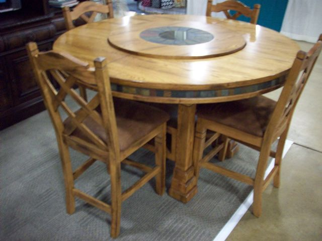 THOMASVILLE SOLID OAK TABLE & CHAIRS W/ LAZY SUSAN
