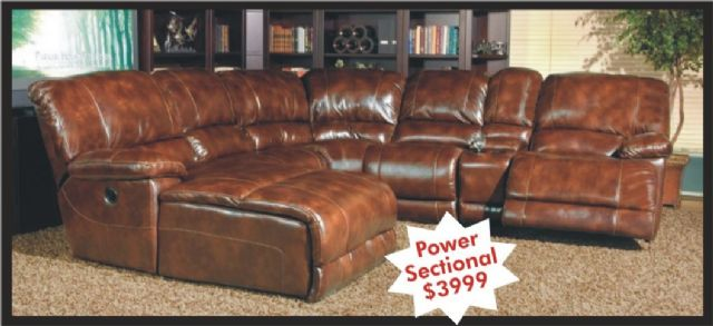 Thomasville Leather Sectional Sofa w/Power Motion