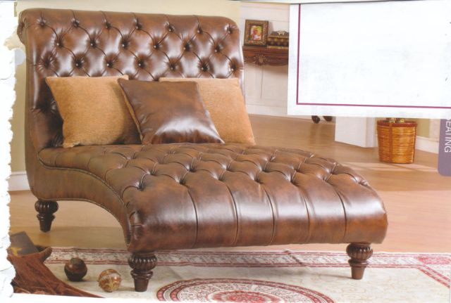 THOMASVILLE CHASE LOUNGE COCO BROWN LEATHER