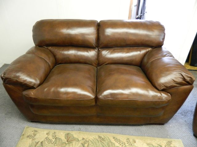 THOMASVILLE LEATHER SOFA , LOVE SEAT ,CHAIR HARDWO