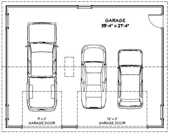 36x28 3 car garage 1 008 sq ft pdf floor plan for How wide is a standard two car garage door