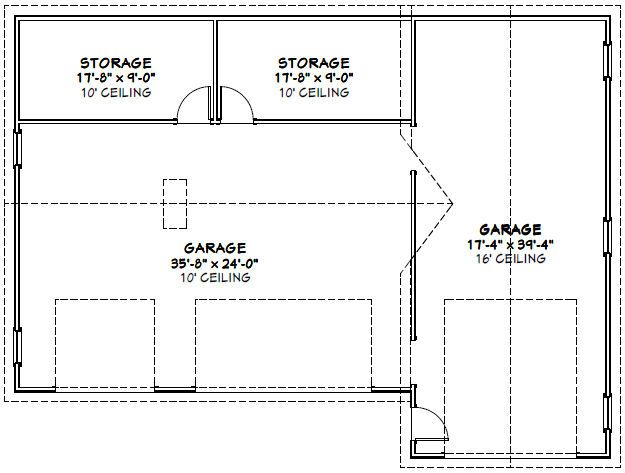54x40 1 rv 3 car garage pdf floor plan greenville south for Rv garage floor plans