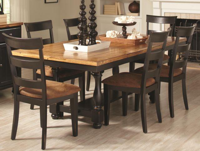7 Piece Rustic Amber Black Dining Room Table Set In Elk Grove CA New Age El