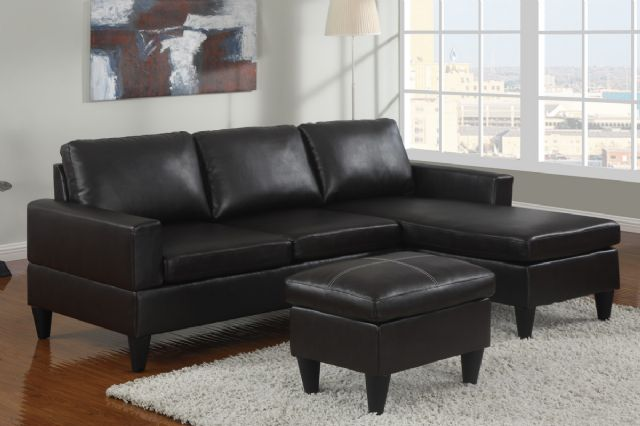 Black Bobkona Faux Leather Sectional Free Ottoman 