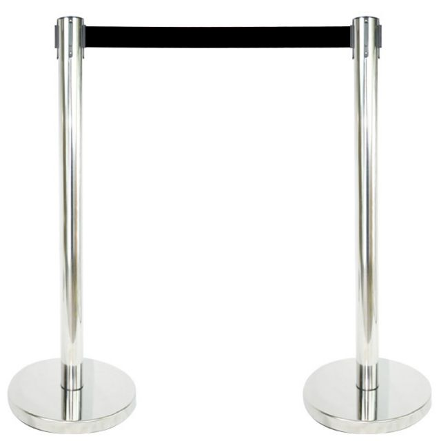 "2 PCS STANCHION SET, 36"" MIRROR S.S. WITH 12"" FLAT"