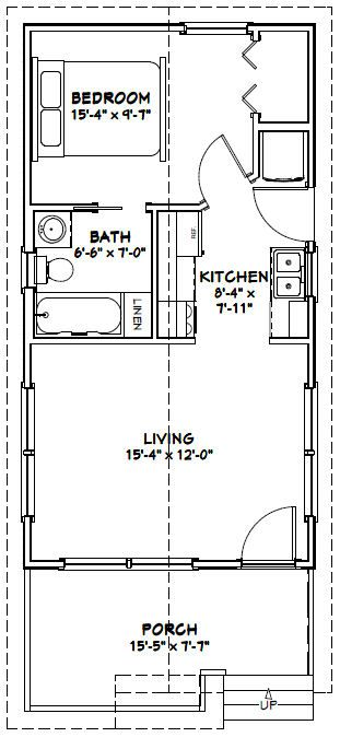16x30 1 bedroom house - 480 sq ft