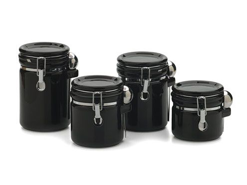 Black Canister Set 4 Piece w/Locking Lids