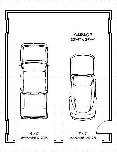 24x30 2 car garage pdf floorplan 720 sq ft saint for Sq ft of 2 car garage