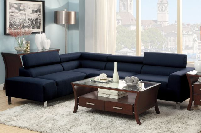 BLUE 2-PIECE BLENDED LINEN SECTIONAL F7289