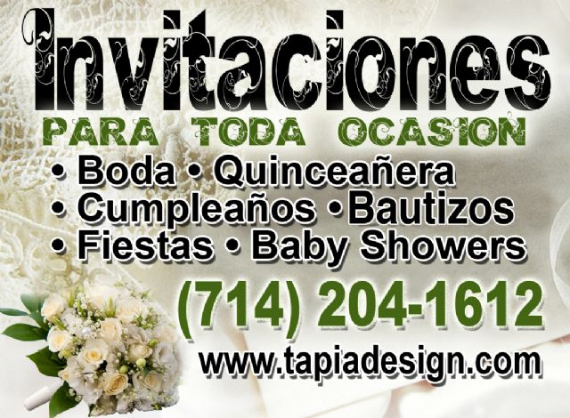 Invitaciones en Riverside Corona Santa Ana Orange