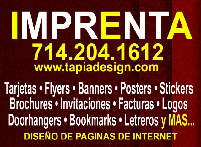 Imprenta en Orange Norwalk Downey Santa Ana CA