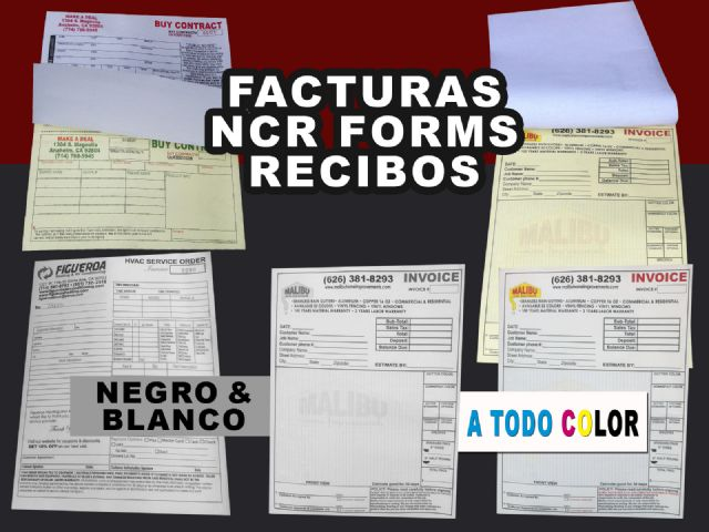 Impresion de Facturas Invoices en Anaheim