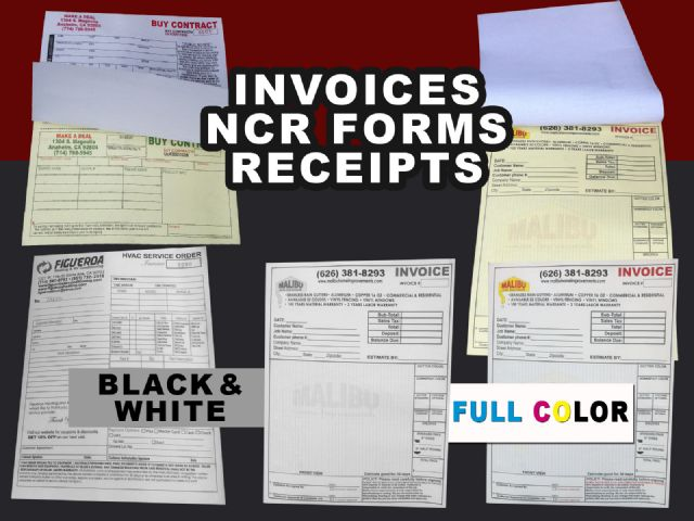 Invoices NCR Forms printing in Garden Grove