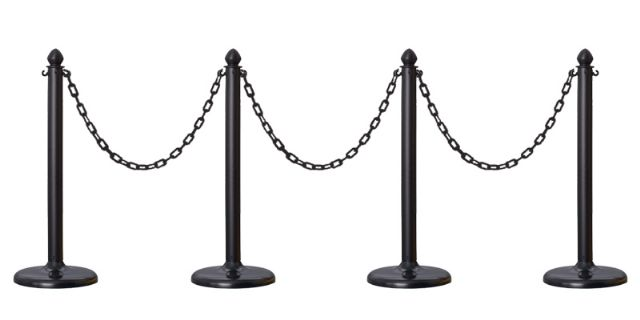 4 PCS C-HOOK PLASTIC STANCHION + 32' CHAIN (BLACK)