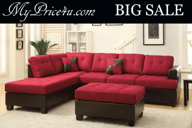 CARMINE BLENDED LINEN SECTIONAL SOFA SET F7601
