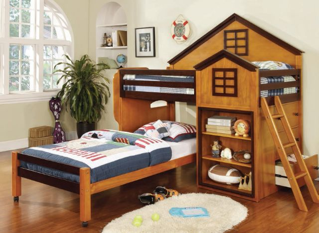 CITADEL OAK AND WALNUT BUNK BED CM-BK131
