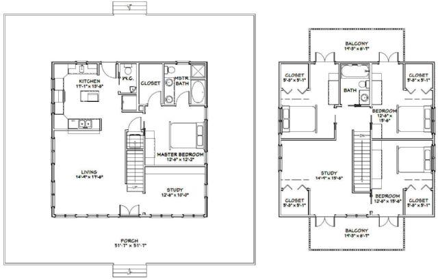 32x32 4-bedroom home - 1 972 sq ft