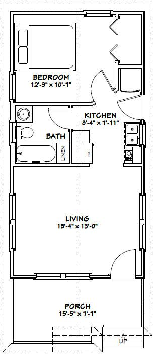 16x32 1 bedroom tiny house