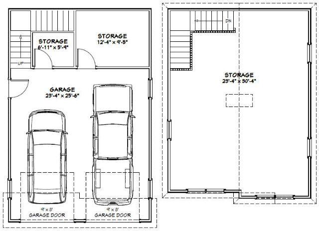 24x36 2-car garage - 1 486 sq ft