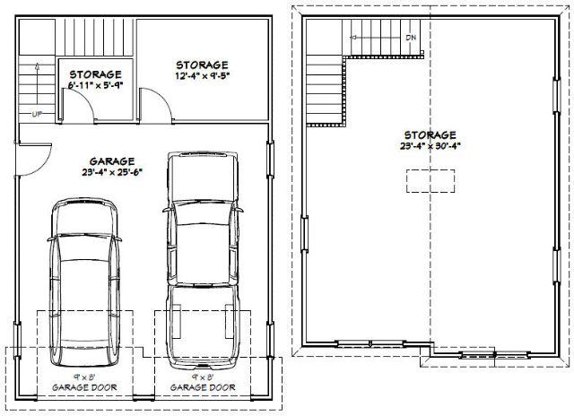24x36 2 car garage 1 486 sq ft pdf floor plan for 24x36 garage plans