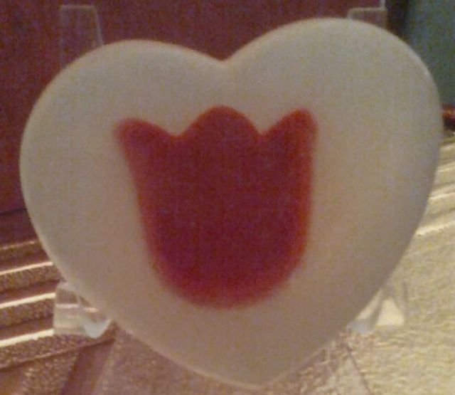 Handpoured Natural Heart Soap with embedded Tulips