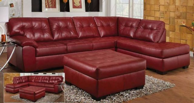 LEATHER SECTIONAL w/ OTTOMAN