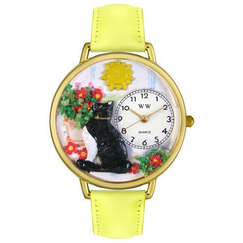 Basking Cat Watch in Gold (Unisex)