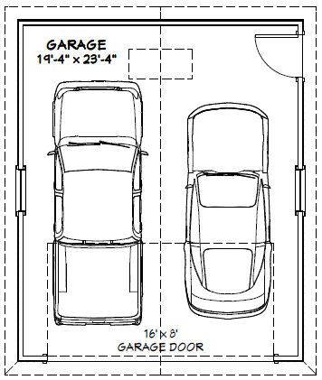 20x24 2 car garage 480 sq ft pdf floorplan charlotte for Sq ft of 2 car garage