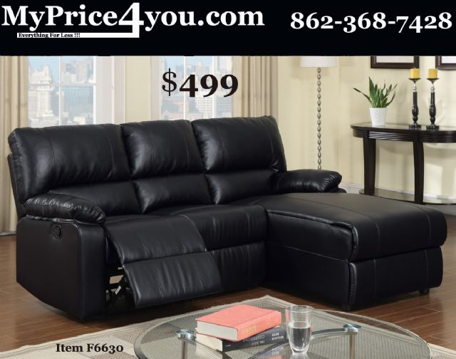 POUNDEX BLACK LEATHER RECLINER SECTIONAL F6630
