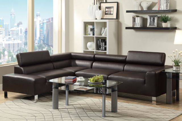 ESPRESSO 2-PIECE FAUX LEATHER SECTIONAL F7299