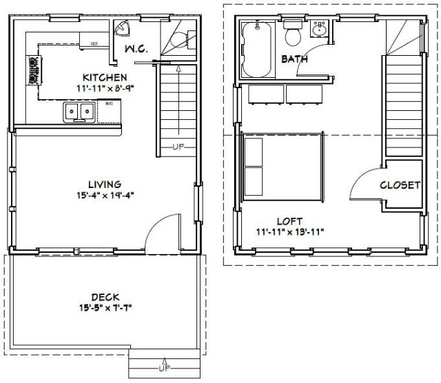 16x20 house - 569 sq ft - pdf floor plan  misc for sale