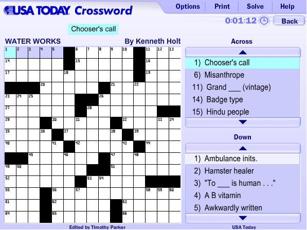 Begin to solve the crossword puzzle by clicking the clues you want to ...