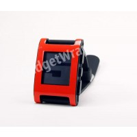 Red Hyper Fluorescent Pebble Watch Wrap and Screen Protector