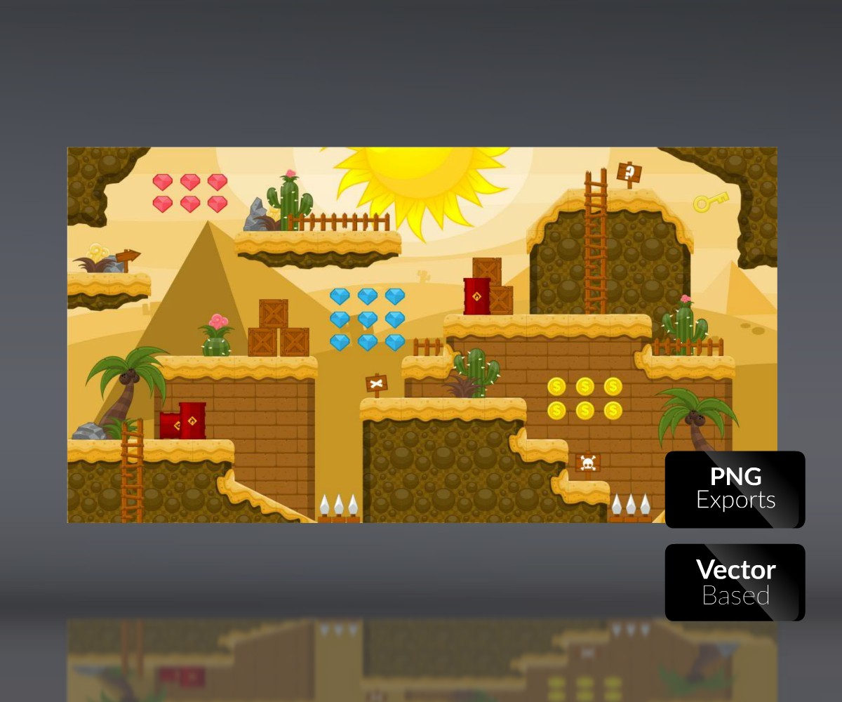 Desert Lands - Platform Tileset - Royalty Free Game Art Assets