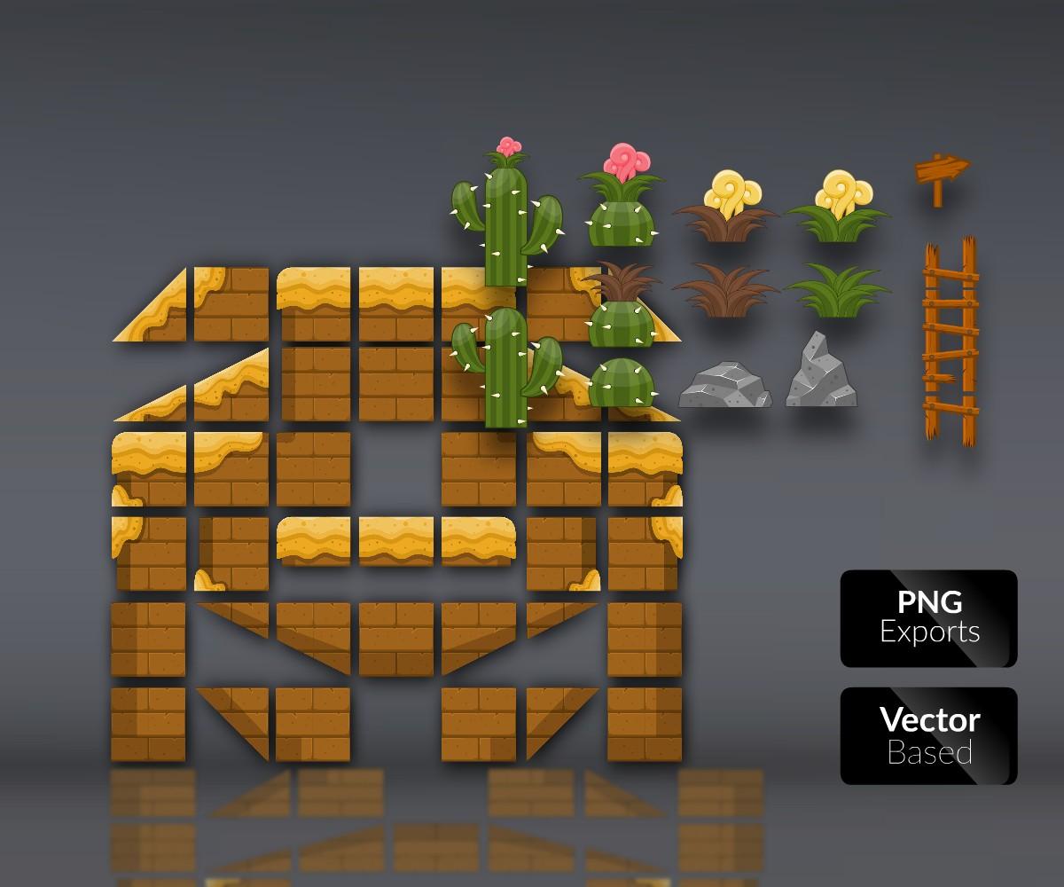 Desert Lands - Platform Tileset - Royalty Free Game Art Assets