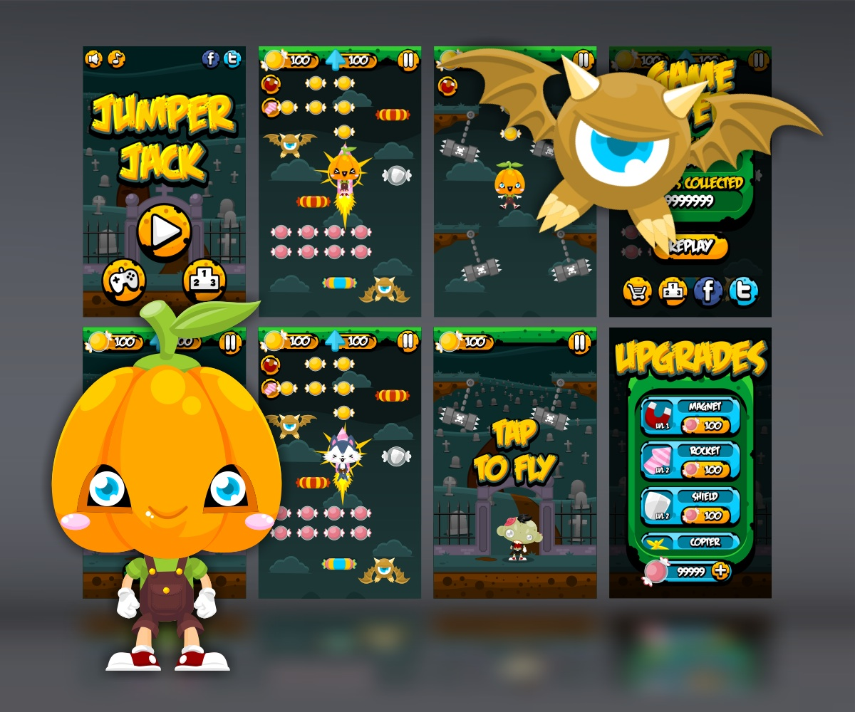 Halloween Jumping and Copter Game Art Assets