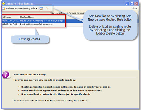 Junxure Outlook Inbox Routing