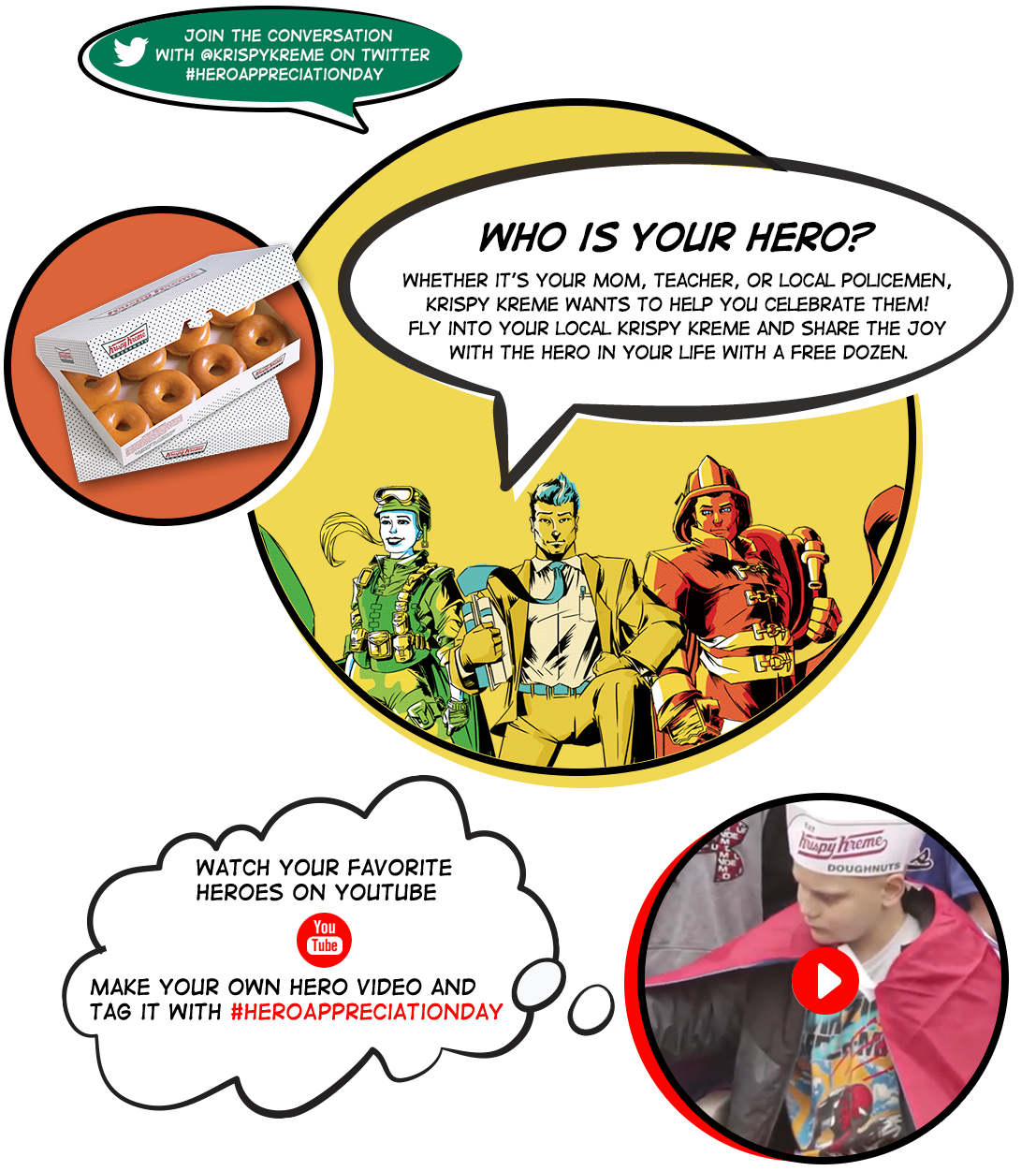 April 28th is Hero Appreciation Day. Buy a dozen doughnuts at participating Krispy Kreme locations and get a dozen free to give to your hero. Share your hero videos on YouTube with the hashtag heroappreciationday.