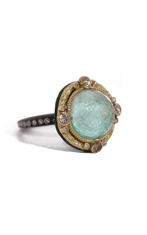 Armenta Round Stack Ring with Green Turquoise Doublet 02796 product image