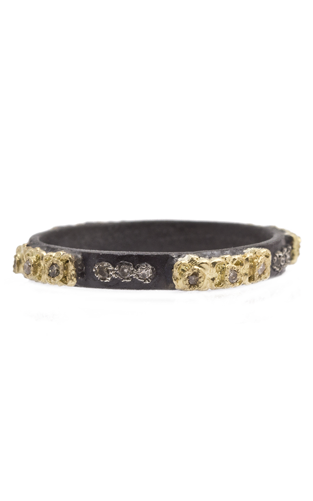 Armenta Carved Skinny Stack Ring with Diamonds 08109 product image