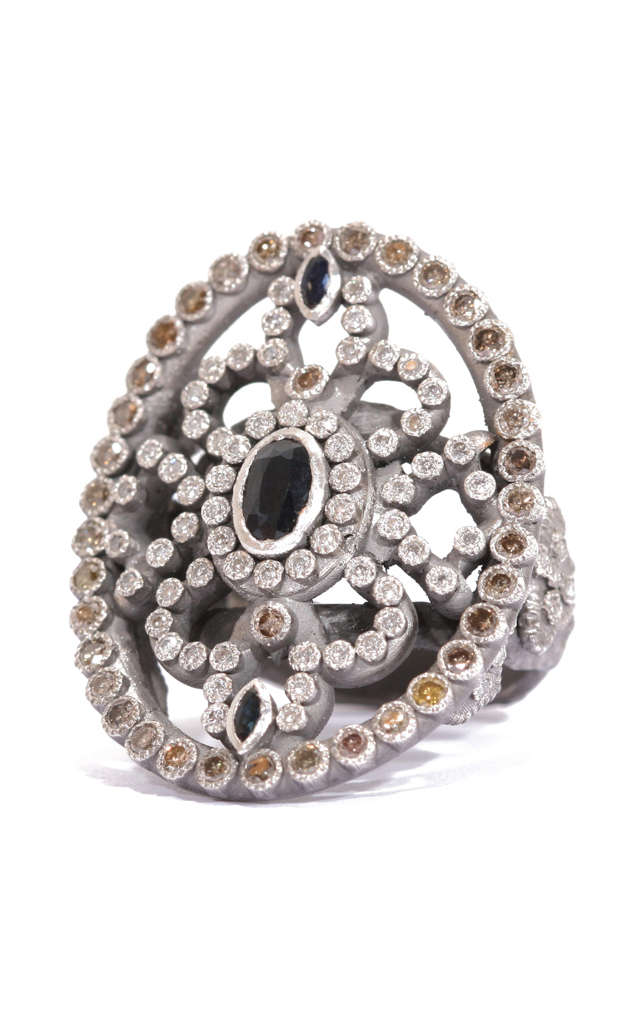 Armenta Diamond and Sapphire Oval Shield Ring 02880 product image