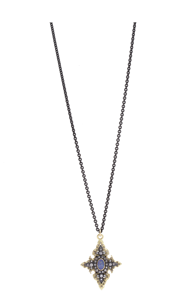 Armenta Pointed Cross Layering Necklace with Boulder Opals - 16 inch 07705 product image