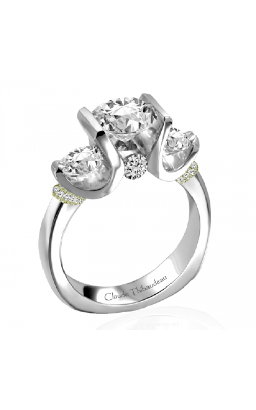 Claude Thibaudeau European Micro-Pave Engagement ring PLT-1858V-MP product image