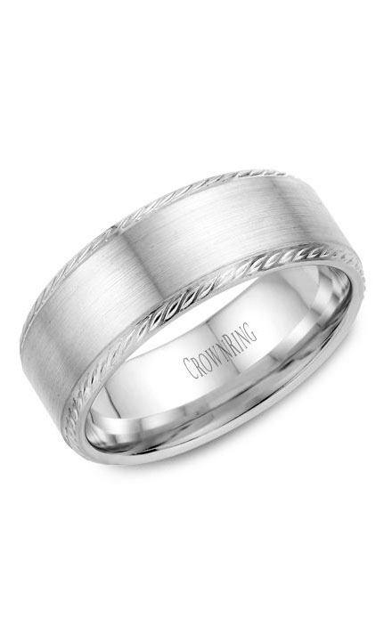 Crown Ring Men's Wedding Band WB-011R8W product image