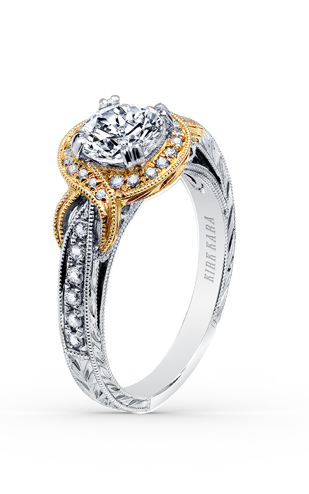 Kirk Kara Pirouetta - 18k white gold, 18k yellow gold 0.23ctw Diamond Engagement Ring, K150R65RWY product image